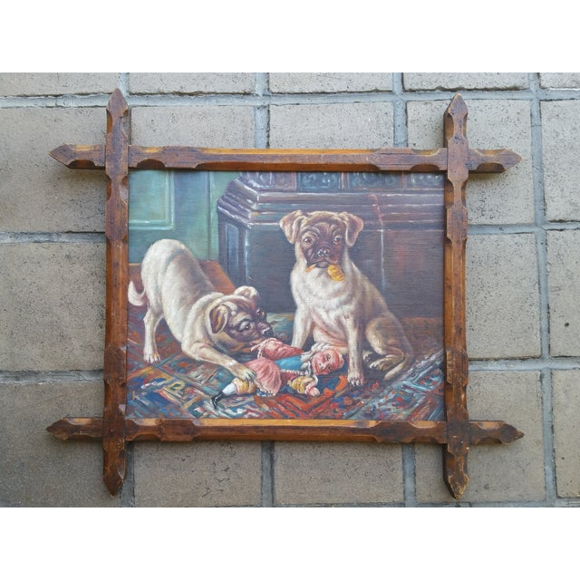 Offered is an oil board painting depicting two pugs with Punch. England. Unsigned.