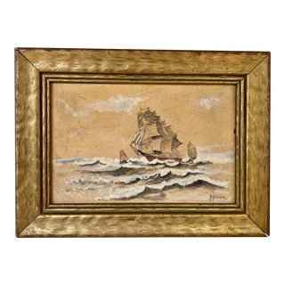 Vintage Ship at Sea Original Painting For Sale
