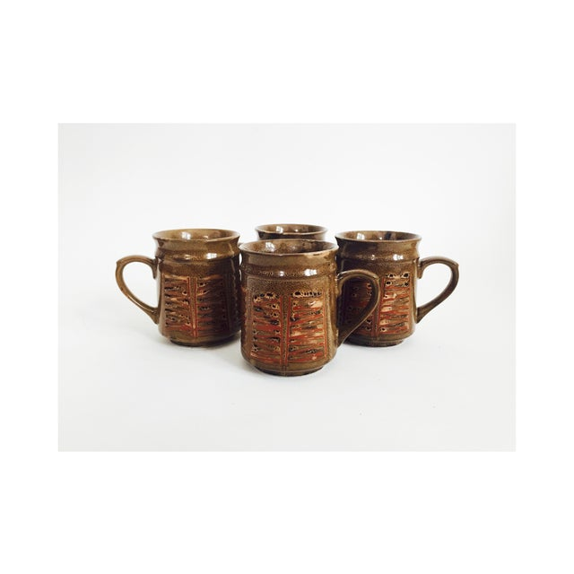 1960s Mid Century Japanese Pottery Mugs - Set of 4 For Sale - Image 5 of 5