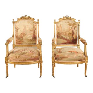 Late 19th Century Louis XVI Style Aubusson Fauteuils Chairs-a Pair For Sale