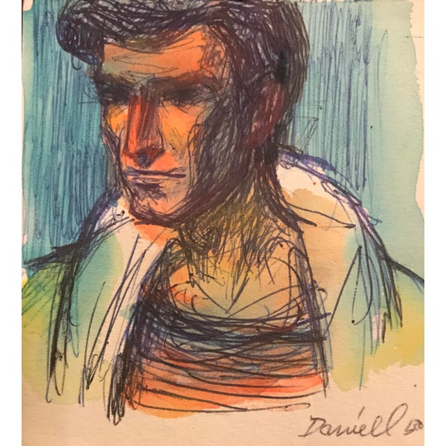 Modern Portrait of a Man Watercolor For Sale - Image 3 of 3