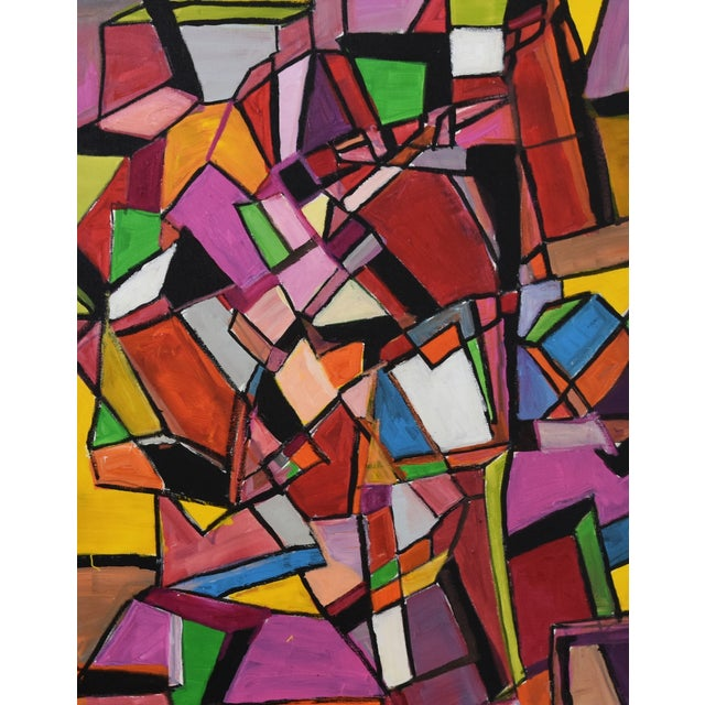 Late 20th Century Juan Guzman Original Colorful Abstract Painting For Sale - Image 5 of 10
