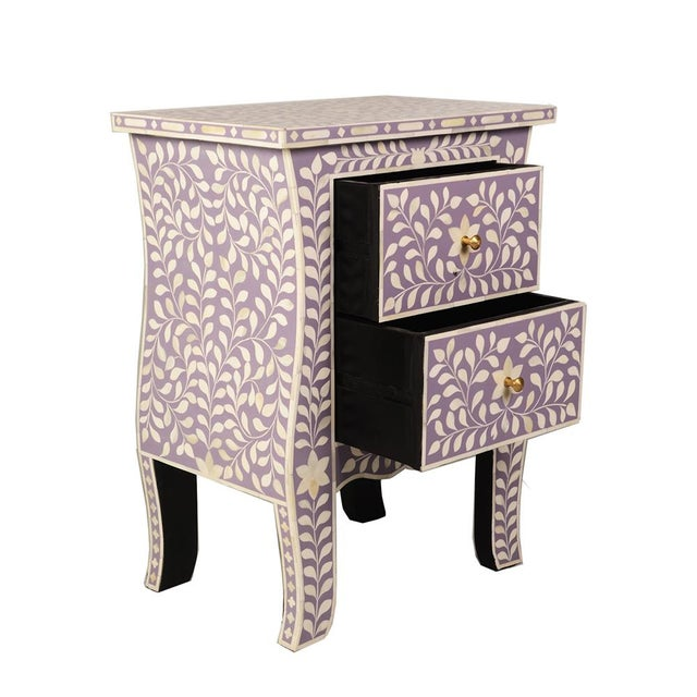 Imperial Beauty 2 Drawer Bedside Table in Lilac/White For Sale - Image 4 of 5