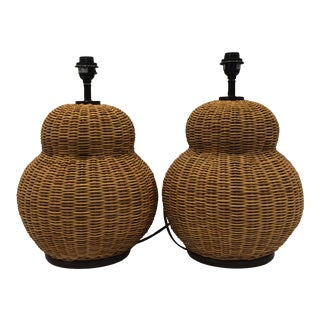 Wicker Gourd Lamps - a Pair For Sale