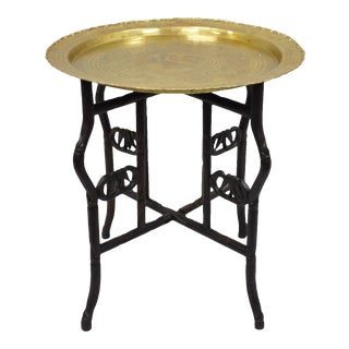 Vintage Mid Century Moroccan Oriental Carved Wood Round Side Table For Sale
