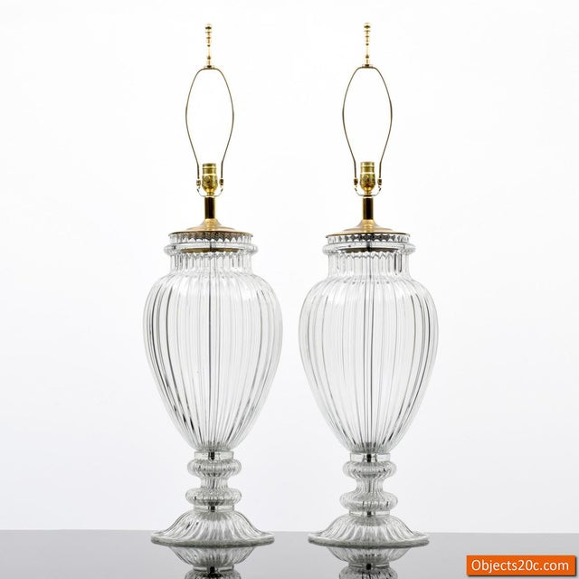 Hollywood Regency Vintage Mid Century Barovier & Toso Style Monumental Murano Lamps- A Pair For Sale - Image 3 of 9
