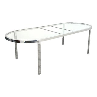 Mid Century Modern Chrome & Glass Dining Table by Milo Baughman For Sale
