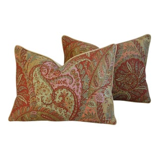 "Custom Brunschwig & Fils Paisley Feather/Down Pillows 24"" x 18"" - a Pair"