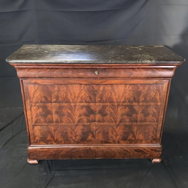 French Empire Marble-Top Burled Walnut Chest of Drawers For Sale - Image 11 of 11
