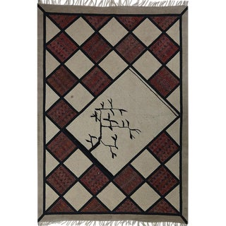 "Vintage Persian Beige & Red Patchwork Distressed Area Rug - 4'7"" X 6'5"" For Sale"