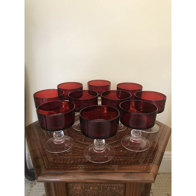 Glass Ruby Red Cocktail Glasses - Set of 10 For Sale - Image 7 of 7