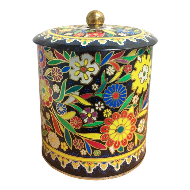 Boho English Colorful Tin Container - Image 1 of 6