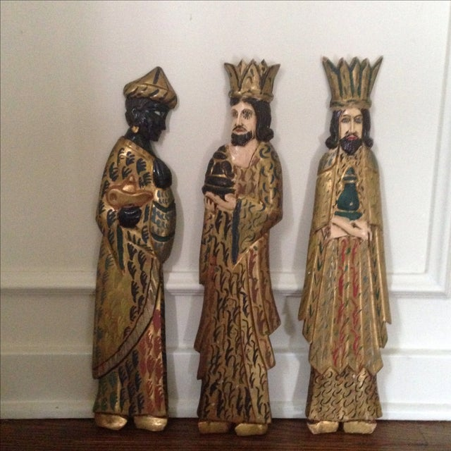 Folk Art Wooden Three Kings Wall Hangings - Set of 3 - Image 8 of 11