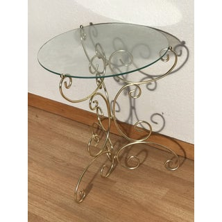 Vintage Hollywood Regency Brass Base Glass Top Decorative Accent Table Preview