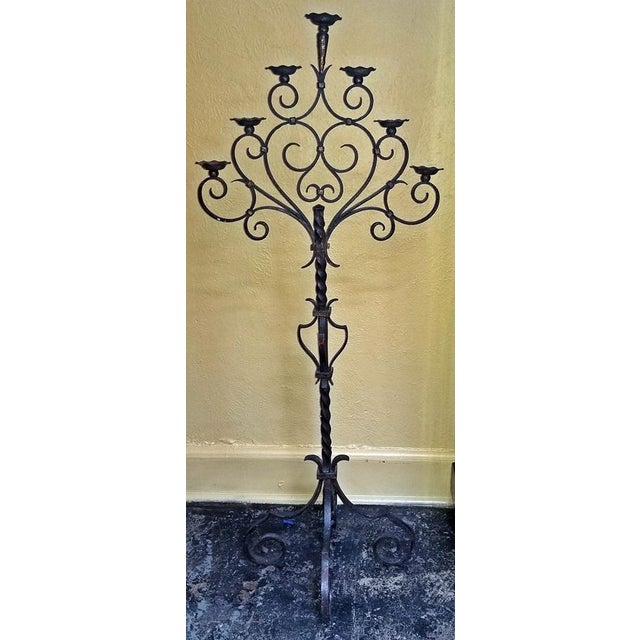18c Spanish Cast Iron Floor Candelabra - Image 8 of 10