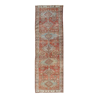 Brick Red and Light Blue-Gray Toned Antique Heriz Gallery Rug With Medallions For Sale