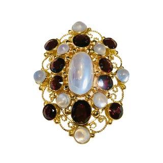 14k Gold Garnet & Moonstone Filigree Pin Pendant For Sale