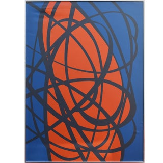 Vintage Mid Century Abstract Expressionist Silk Screen by Tom Tru For Sale