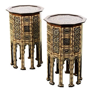 Mosaic Mother of Pearl Inlaid Side Tables - A Pair