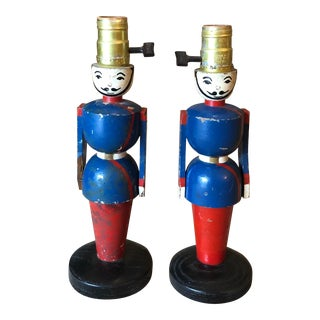 1960s Red and Blue Wooden Soldier Lamps - a Pair For Sale