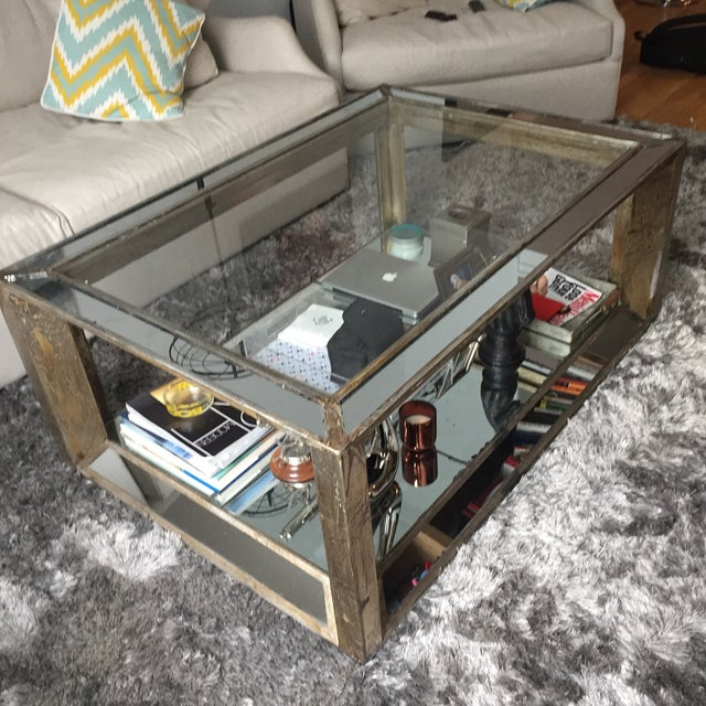 Glass Mirrored Distressed Wood Coffee Table - Image 4 of 4