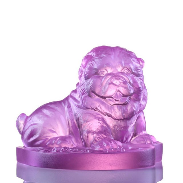 """Glass Crystal Limited Edition Chow Chow Dog """"Only Love"""" in Pinkish Red For Sale - Image 7 of 7"""