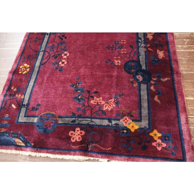 Purple Antique Art Deco Chinese Rug For Sale - Image 8 of 11