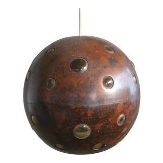 1960s Brutalist Spherical Copper and Glass Pendant Lamp by Nanny Still for Raak For Sale