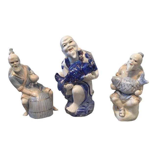 Chinoiserie Asian Man Fisherman Figurines - Set of 3 For Sale