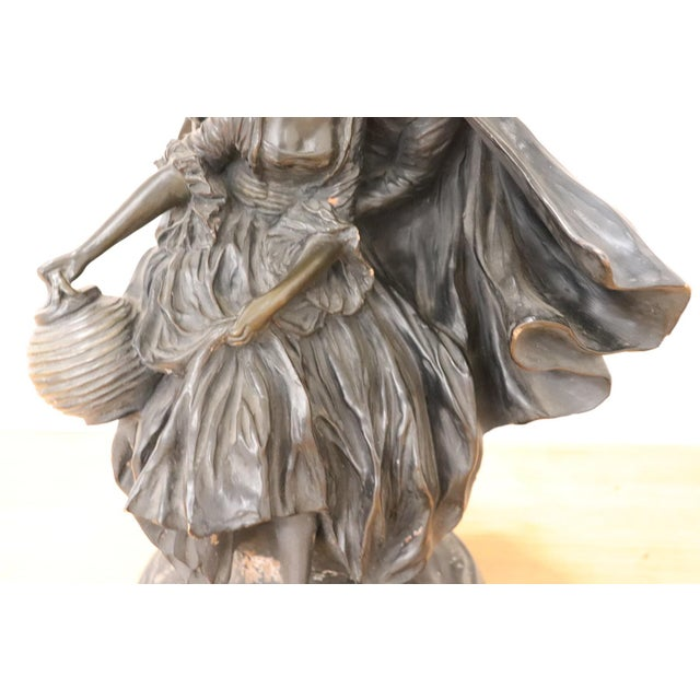 20th Century Art Nouveau Table Lamp With Sculpture in Clay, Couple in Love 1920s For Sale - Image 6 of 11