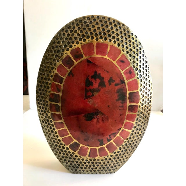 Exquisite organic modern large vase with ovoid form. Vase is comprised of hand-forged bronze metal with mosaic inlays of...