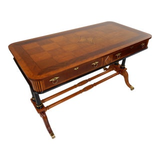 Baker Furniture Inlaid Mahogany Continental Style Desk For Sale