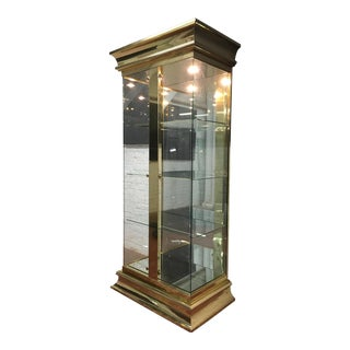 Vintage Modern Mirrored Gold & Glass Display Cabinet