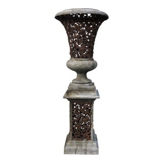 Large Cavrved Urn Planter on Stand For Sale