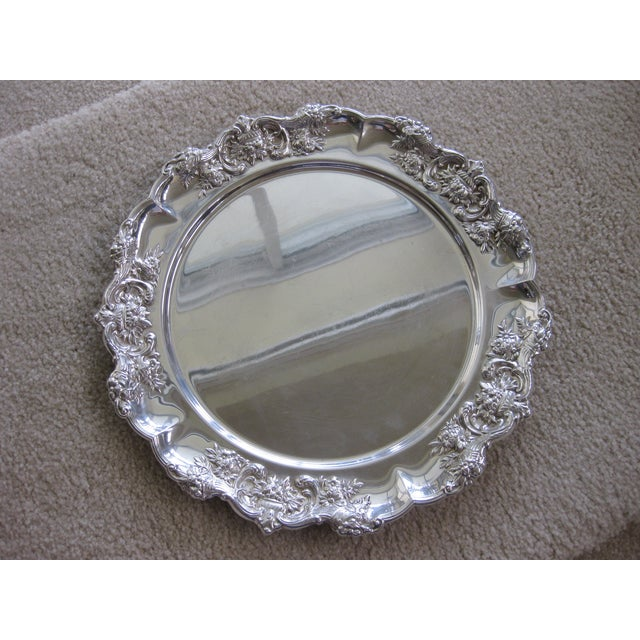 """This listing consist of an antique 12"""" sterling silver charger or dinner plate with a beautiful design around the edge. It..."""