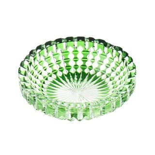 Bohemian Green Cut to Clear Crystal Ashtray