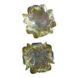 Image of Murano Yellow/Green With Gold and Silver Flecks With Scalloped Edge - a Pair For Sale