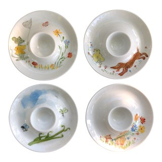 Vintage Italian Ceramic Baby Egg Plates Painted Animals Signed 4 For Sale