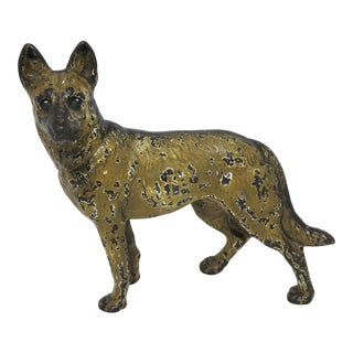 Vintage Cast Iron German Shepherd Dog Doorstop For Sale