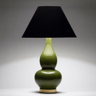 Casa Cosima Double Gourd Table Lamp, Olive Craquelure/Black Shade Preview