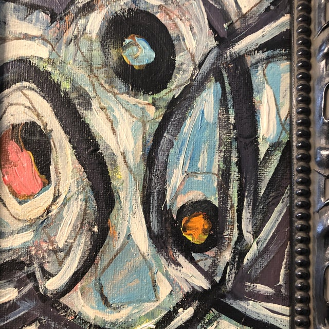 """Contemporary Original Contemporary Small Stephen Heigh Abstract Painting """"All Together Now"""" For Sale - Image 3 of 5"""