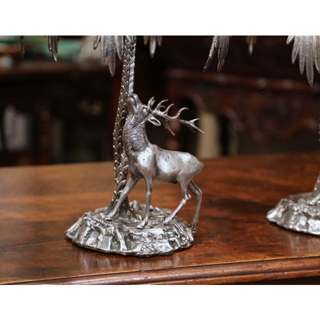 Pair of Early 20th Century Silvered Bronze Centerpieces With Deer Sculpture For Sale - Image 10 of 12