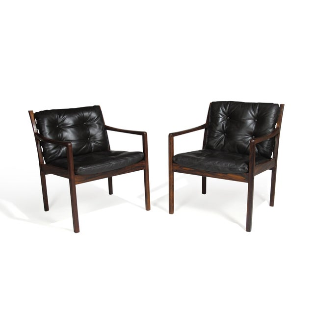 Wood Ole Wanscher Rosewood Lounge Chairs in Original Leather - a Pair For Sale - Image 7 of 11