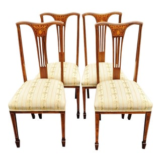 19th Century English Edwardian Carved & Inlaid Satinwood Parlor Chairs - Set of 4 For Sale