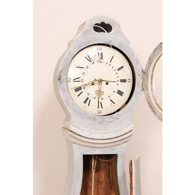 Mid 19th Century 19th Century, Swedish Longcase Clock with Face and Light Blue Paint Wash For Sale - Image 5 of 10