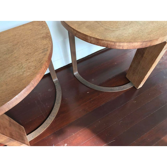 Artist Crafted Wood and Steel Demilune Side Tables - a Pair - Image 4 of 7