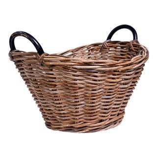 1980s Hand Woven Wicker Basket For Sale