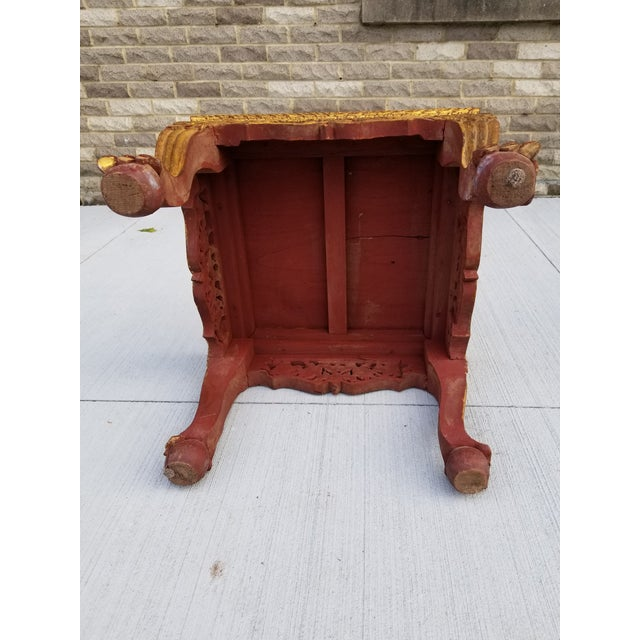 Red Antique Chinese Gilt Carved Wood Kang Table For Sale - Image 8 of 13
