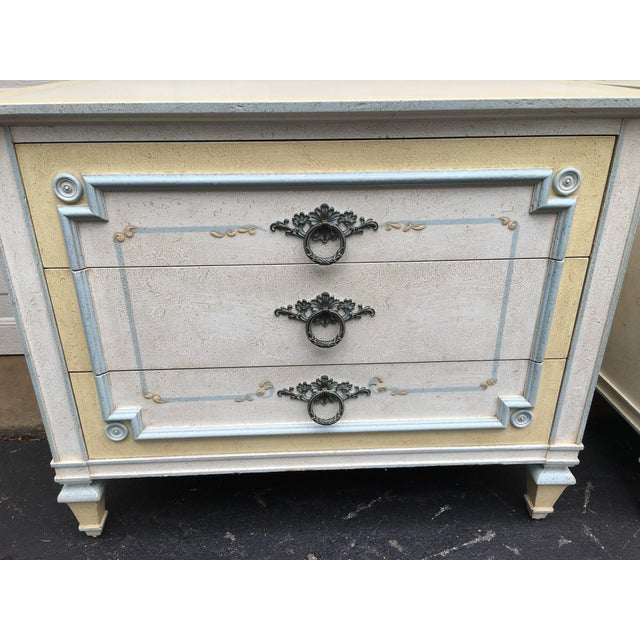 Wood 1970s Shabby Chic Johñ Widdicomb White Night Stands - a Pair For Sale - Image 7 of 9