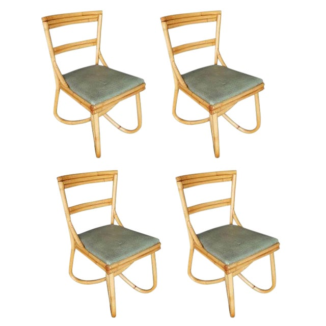 Mid-Century Loop Leg Rattan Dining / Side Chairs - Set of 4 For Sale